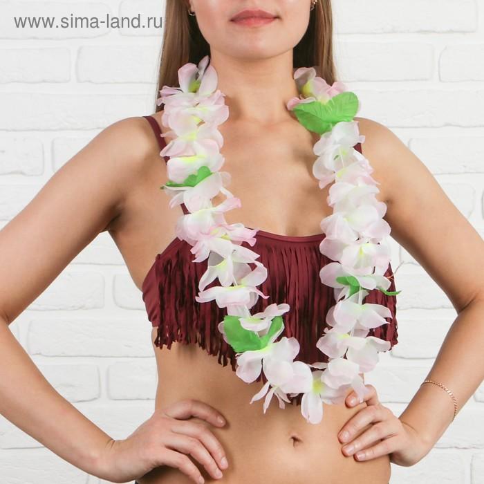 """Гавайское ожерелье """"Цветы с листочками"""", цвета МИКС"""