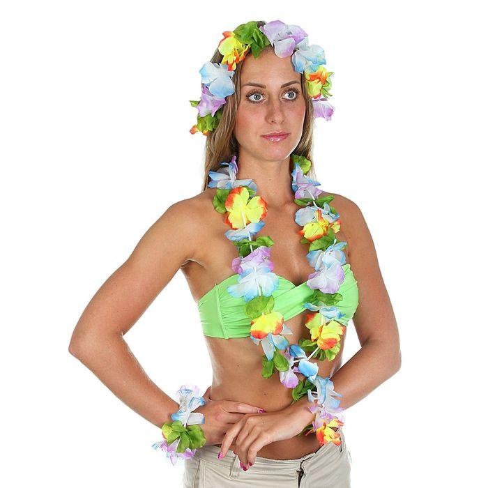 Набор гавайская тема 4 в 1: ожерелье, венок, 2 браслета, многоцветные цветы