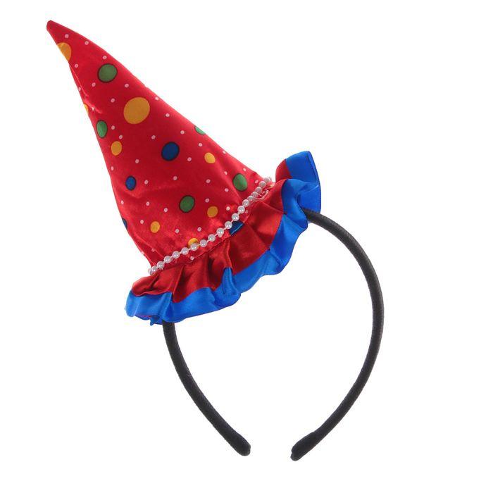 """Карнавальный ободок """"Колпак"""" с рюшками, цвет красный в горох"""