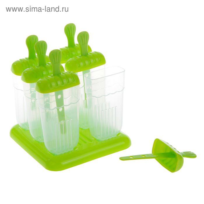 """Форма для мороженого 6 ячеек на подставке """"Фрутти"""" 15х14х17 см, цвет зеленый"""