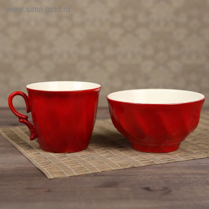 Столовый набор, красный, кружка 0,4 л и салатник 0,6 л