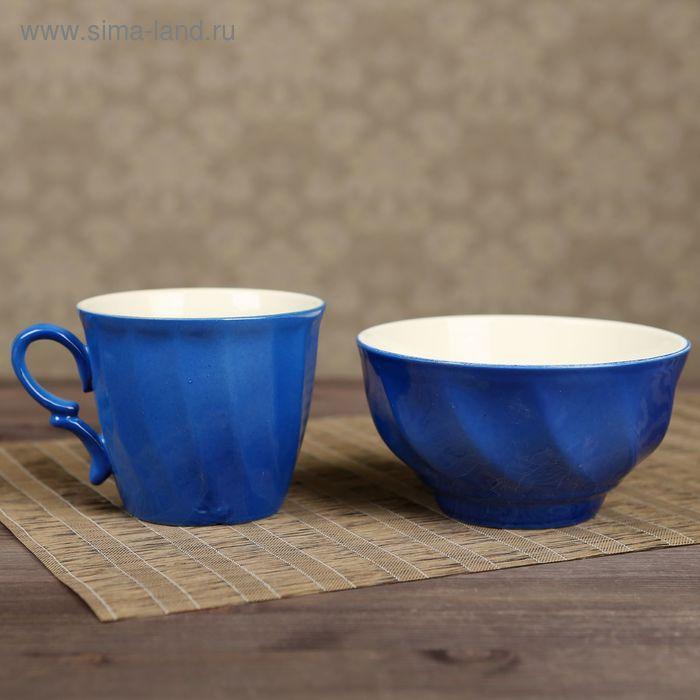 Столовый набор, синий, кружка 0,4 л и салатник 0,6 л