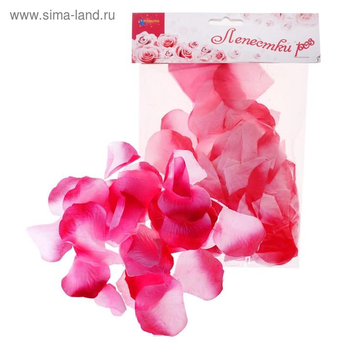 Лепестки роз, цвет бело-малиновый
