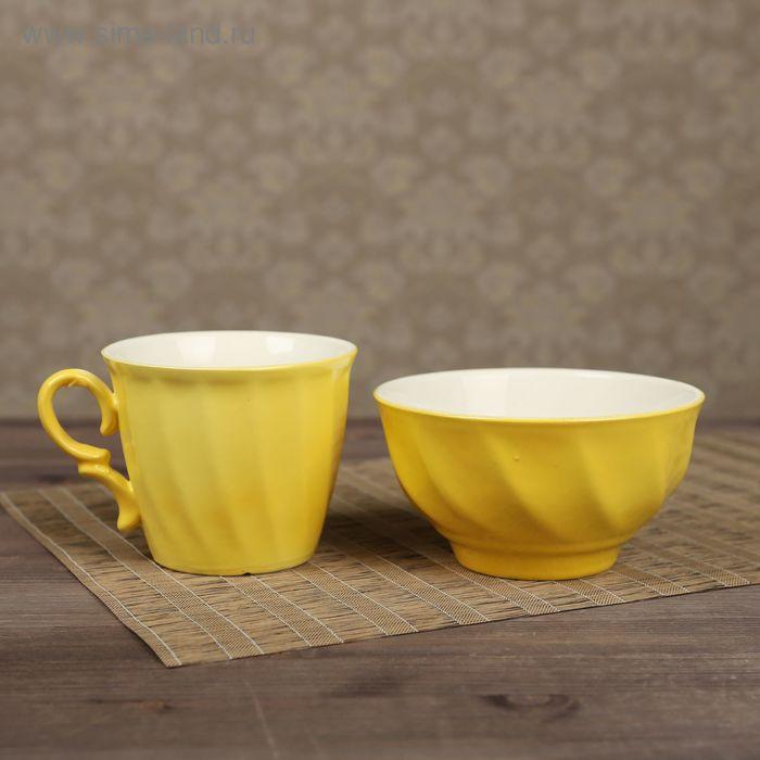 Столовый набор, жёлтый, кружка 0,4 л и салатник 0,6 л