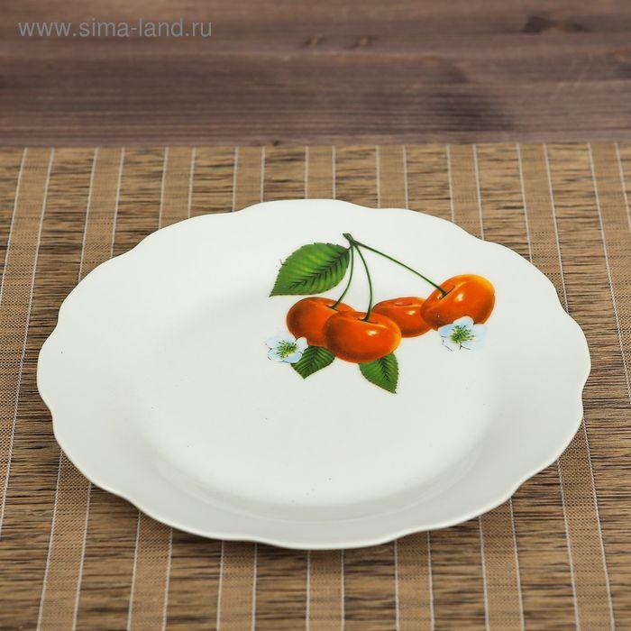 Тарелка d=20 см плоская, вишня, деколь