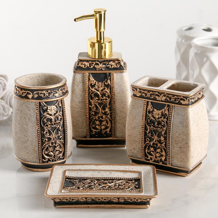 Набор аксессуаров для ванной комнаты «Индийский слон», 4 предмета (дозатор, мыльница, 2 стакана) - фото 1743599