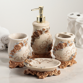 Набор аксессуаров для ванной комнаты «Узоры», 4 предмета (дозатор 250 мл, мыльница, 2 стакана)