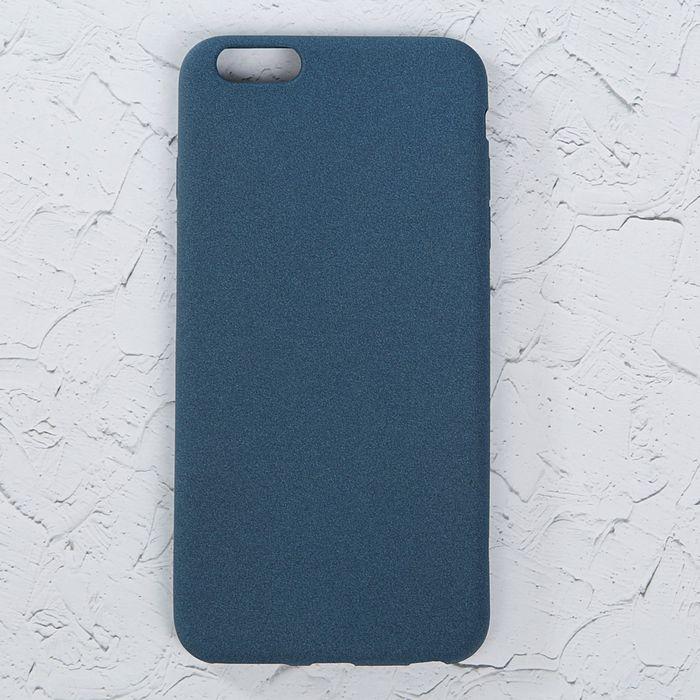 """Чехол LuazON для iPhone 6 Plus, материал TPU, мягкое """"велюровое"""" покрытие, темно-синий"""