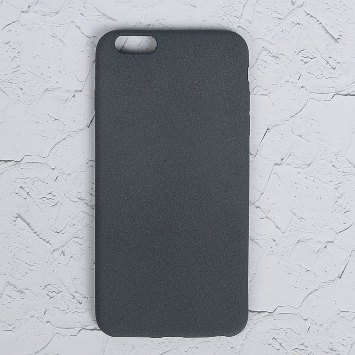 """Чехол LuazON для iPhone 6 Plus, материал TPU, мягкое """"велюровое"""" покрытие,серый"""