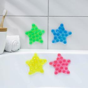 Мини-коврик для ванны «Звёзда», 10×10 см, цвет МИКС