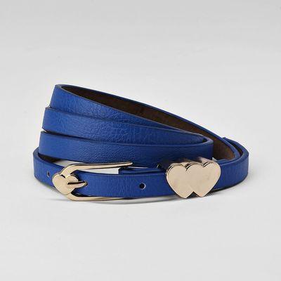 Women's belt, buckle and yoke gold, width - 1 cm, color blue