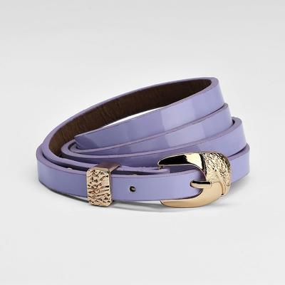 Women's belt, buckle and yoke gold, width - 1 cm, lacquer lilac