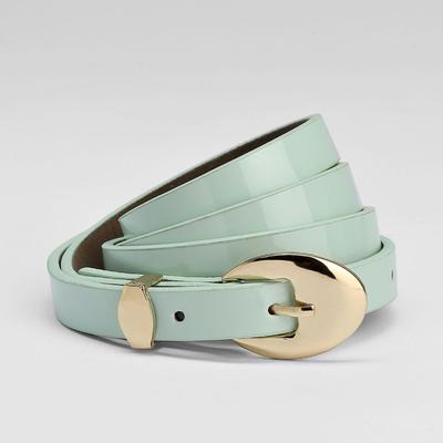 Women's belt, buckle and yoke gold, width - 1.3 cm, lacquer mint