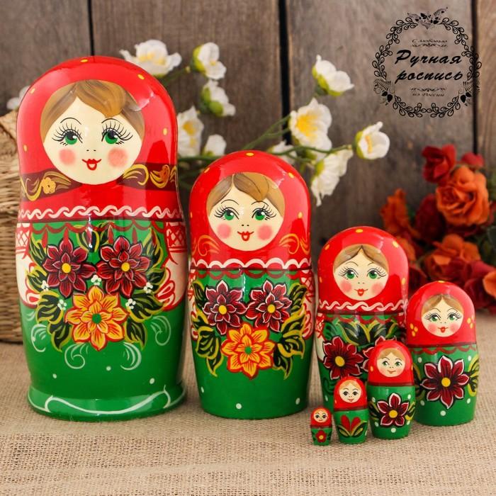 """Matryoshka """"Dahlias"""", a red scarf, doll 7, 17 cm"""