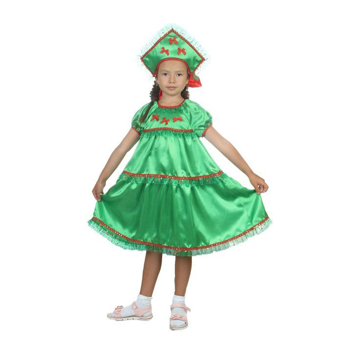 """Карнавальный костюм """"Ёлочка"""", платье воланами, кокошник с бантиками, р-р 30, рост 110-116 см"""