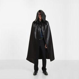 Карнавальный плащ «Хэллоуин» с капюшоном, длина 120 см, цвет чёрный