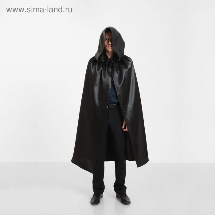 Fancy dress cloak Halloween hooded, color black, length 120 cm