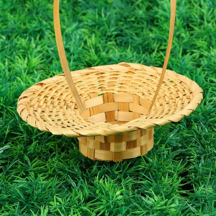 Корзина «Шляпа», плотного плетения, D=16 см, Н=3 см, бамбук