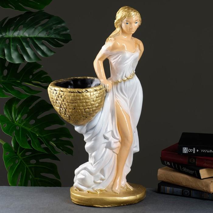 """Фигура с кашпо """"Девушка с корзиной"""" персик/ золото 64см"""