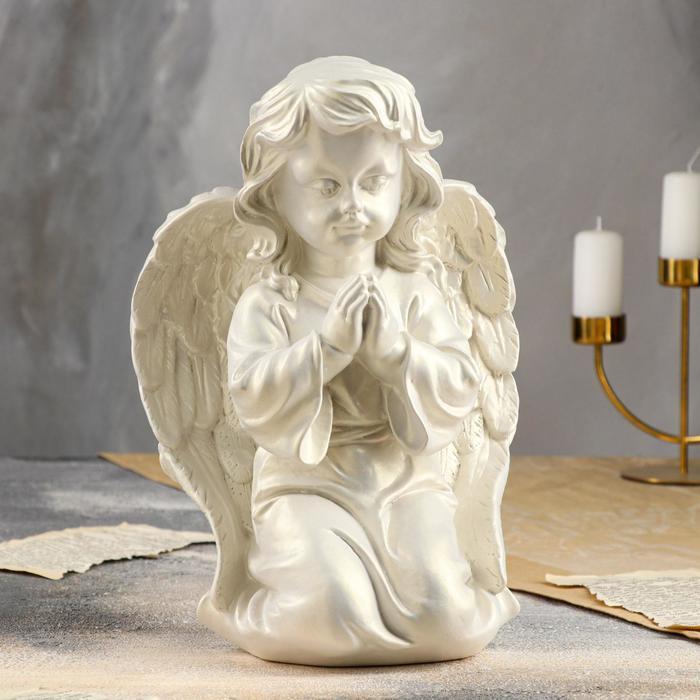 """Статуэтка """"Ангел молящийся"""", перламутровый, 33,5 см - фото 727514852"""