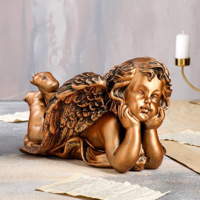 """Статуэтка """"Ангел лежащий"""" 20 см, бронзовый - фото 797854140"""