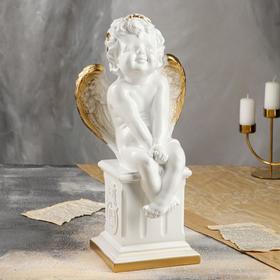 """Статуэтка """"Ангел на тумбе"""", бело-золотистый цвет, 45 см"""