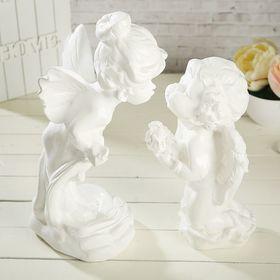 "Статуэтка ""Ангел и мотылёк"", 2 шт, белая, 29 см"