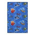 Палас принт Гонки, размер 100х150 см, цвет синий, войлок, полиамид