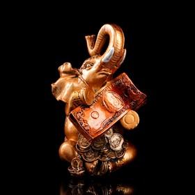 """Копилка """"Слон с деньгами"""", глянец, бронзовый цвет, 24 см, микс"""