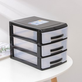 Мини-комод 3-х секционный, цвет чёрный/прозрачный