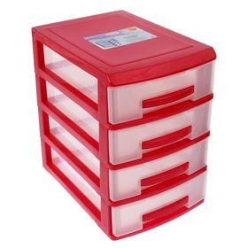 Мини-комод 4-х секционный, цвет красный/прозрачный