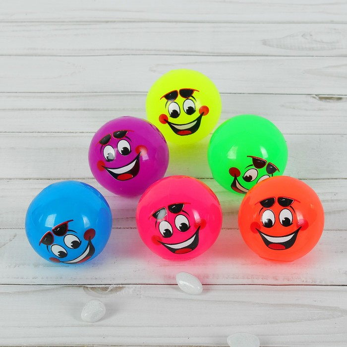 """Мяч световой """"Радостная мордашка в очках"""", цвета МИКС"""