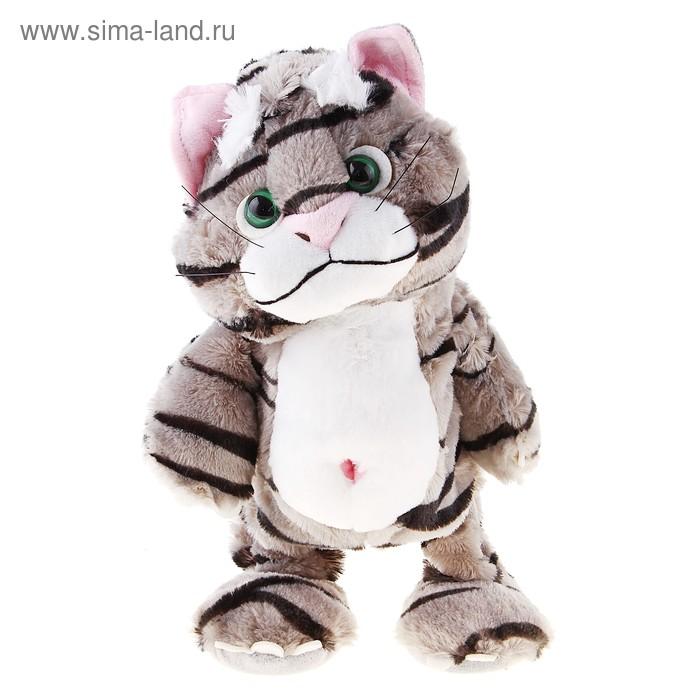 """Мягкая интерактивная игрушка-повторюшка """"Полосатый кот"""", цвет серый в чёрную полоску"""