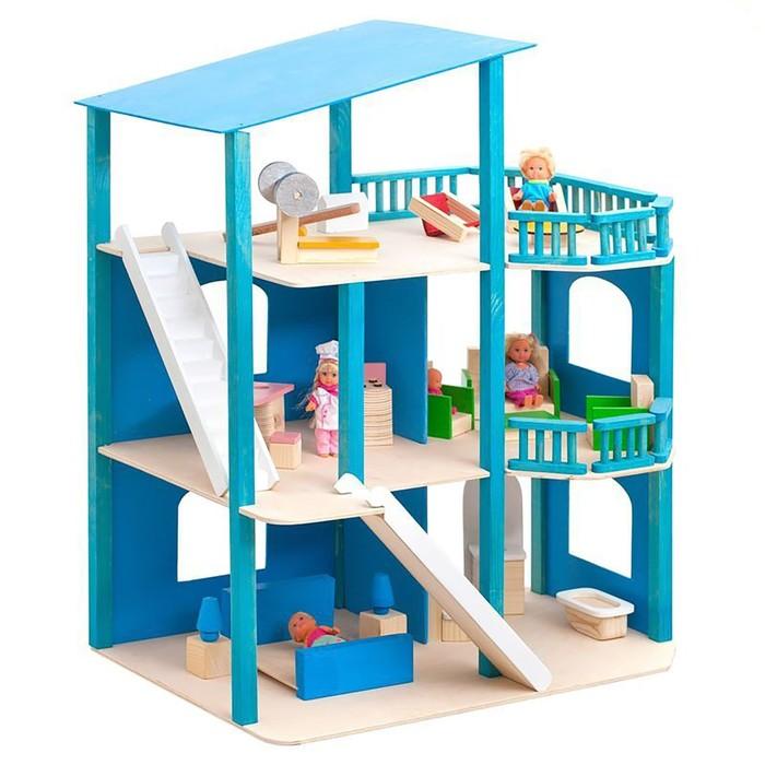 """Кукольный домик """"Лазурный берег"""", с мебелью, 21 предмет"""