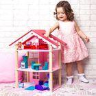 Трёхэтажный домик для куклы «Роза Хутор» с 14 предметами мебели