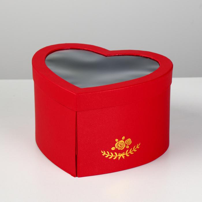 """Коробка """"Сердце"""" с окном, красный, 25 х 22 х 15 см"""