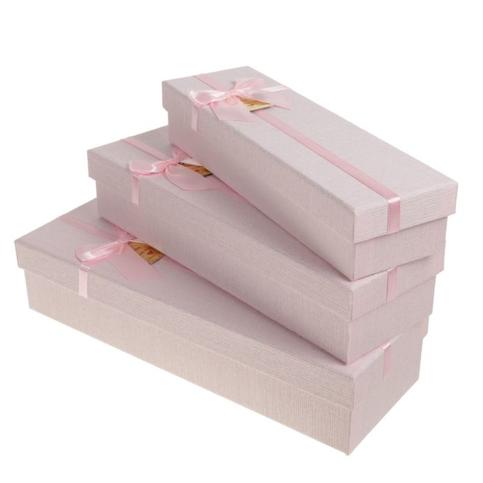 Set boxes 3in1, pink, 35 x 12 x 7.5 - 29 x 9 x 5.5 cm