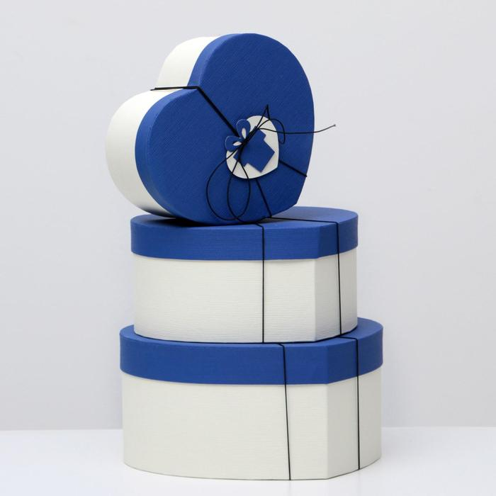 "Set boxes 3in1 ""Heart"", blue, 30 x 28 x 14 - 22 x 20 x 10 cm"