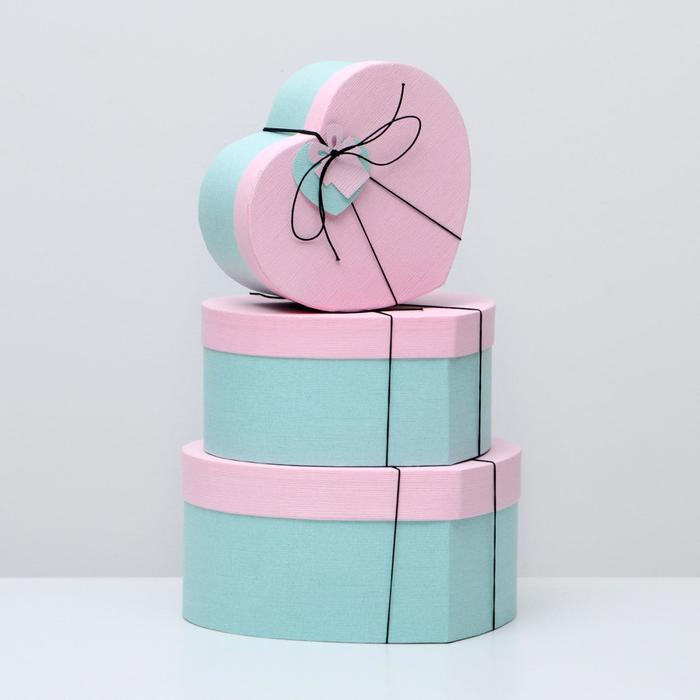 """Набор коробок в форме сердца 3 в 1 """"Сердце"""", розовый, 30 х 28 х 14 - 22 х 20 х 10 см - фото 1744258"""