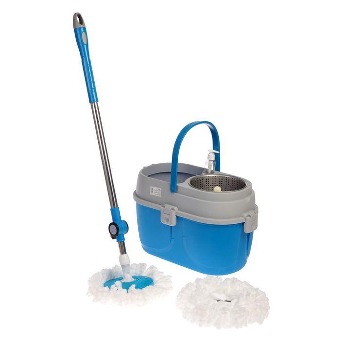 Набор для уборки: швабра, ведро с металлической центрифугой 10 л, дополнительная насадка из микрофибры, дозатор, цвет МИКС