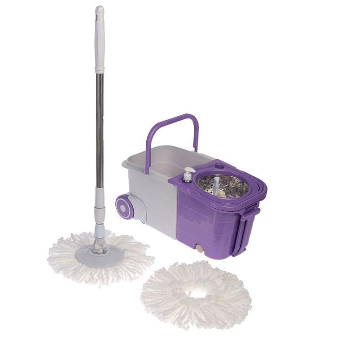 Набор для уборки: швабра, ведро складное с металлической центрифугой, дополнительная насадка