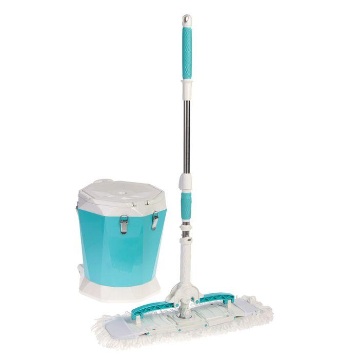 Набор для уборки: швабра плоская 58х15х96(125) см, ведро с пластиковой центрифугой