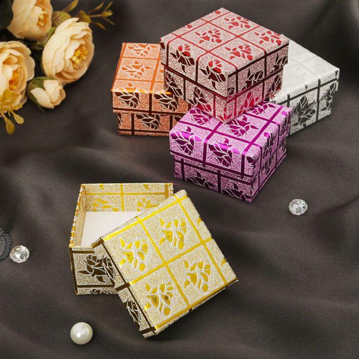 """Коробочка подарочная под кольцо """"Розы"""" с блестками, 5*5*3,5, цвет МИКС, вставка белая"""
