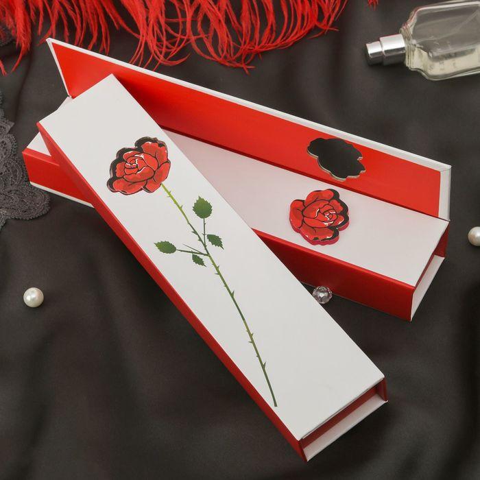 """Коробочка подарочная под браслет/цепочку/часы """"Роза с шипами"""" 22,5*4,5*3, цвет бело-красный 231978"""