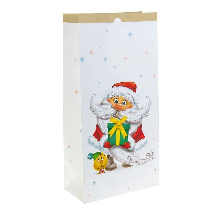 Пакет крафтовый «Весёлый Новый Год», 32 х 64 х 16 см