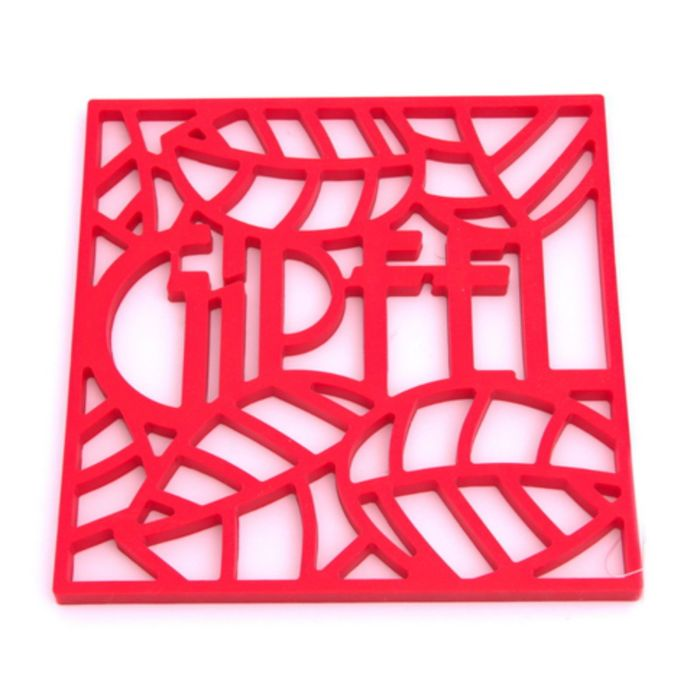 Подставка под горячее Glum, 17 х 17 х 0,8 см, красная, квадратная