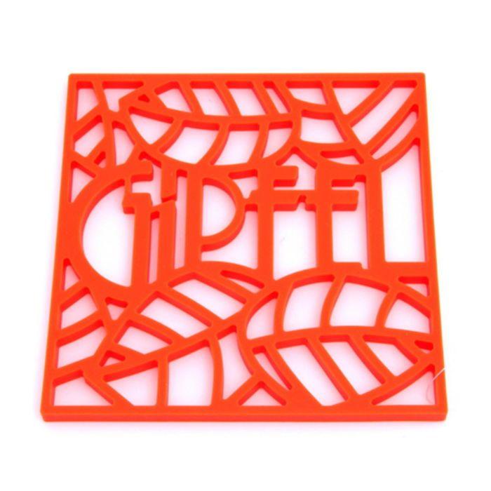 Подставка под горячее Glum, 17 х 17 х 0,8 см, оранжевая, квадратная