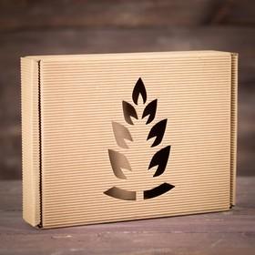 Подарочная коробка, бурая, сборная, 28,7 х 22 х 5,8 см Ош