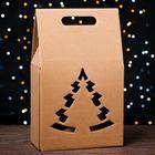 "Подарочная коробка под бутылки  ""Сумка с ёлкой"", бурая,  сборная, 24 х 13.5 х 40 см"