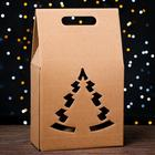 "Gift box for the bottle ""Bag tree"", brown, national team, 24 x 13.5 x 40 cm"